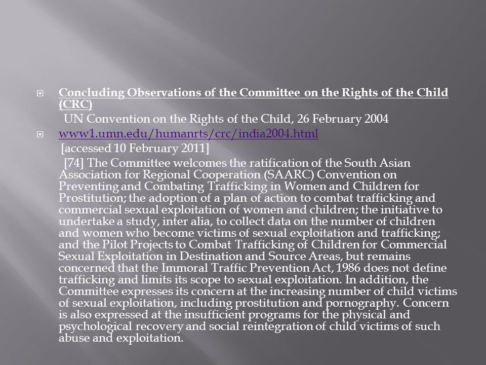 Concluding Observations of the Committee on the Rights of the Child (CRC)