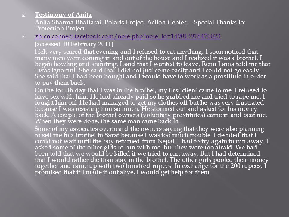 Testimony of Anita Anita Sharma Bhattarai, Polaris Project Action Center -- Special Thanks to: Protection Project.