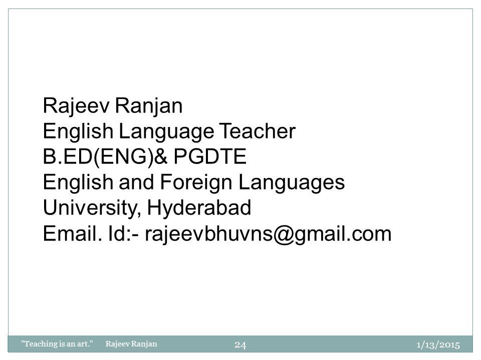 English Language Teacher B.ED(ENG)& PGDTE