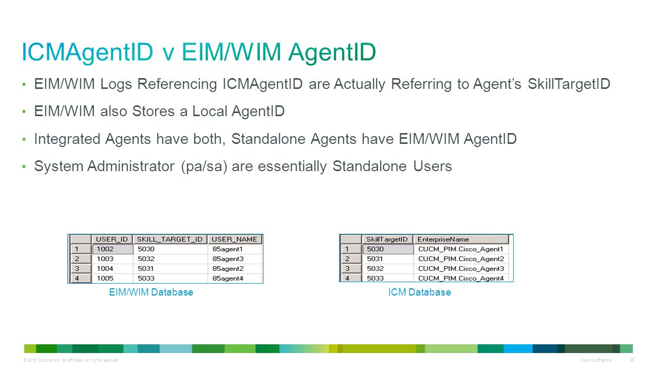 ICMAgentID v EIM/WIM AgentID