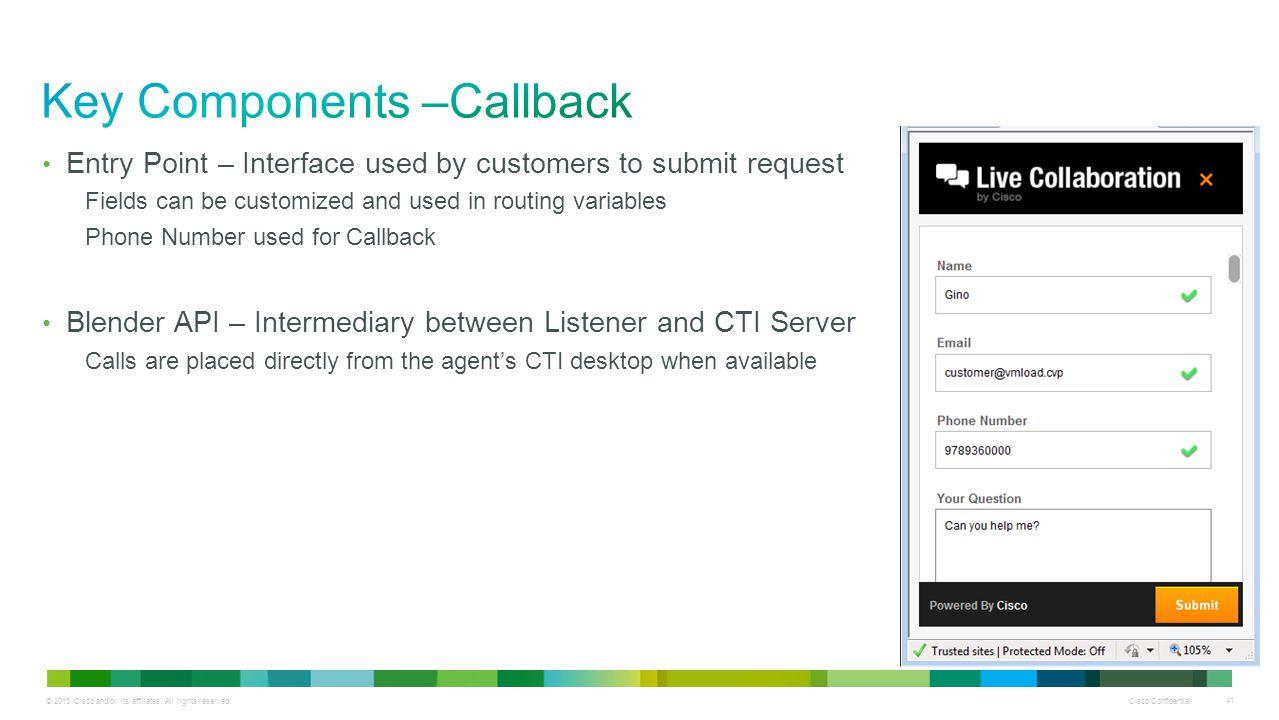 Key Components –Callback