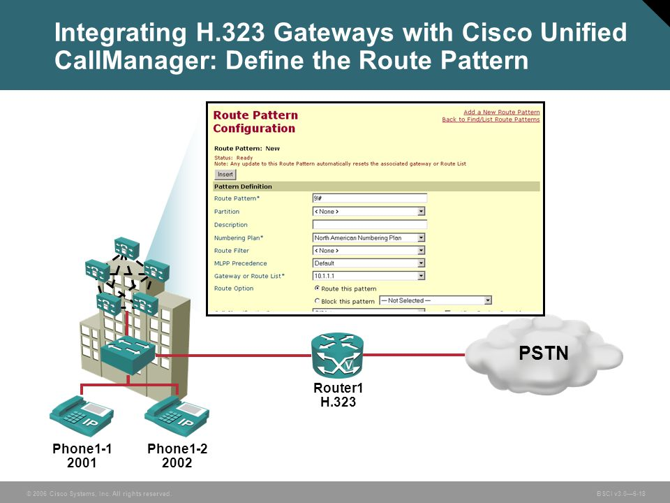 Integrating H.323 Gateways with Cisco Unified CallManager: Define the Route Pattern