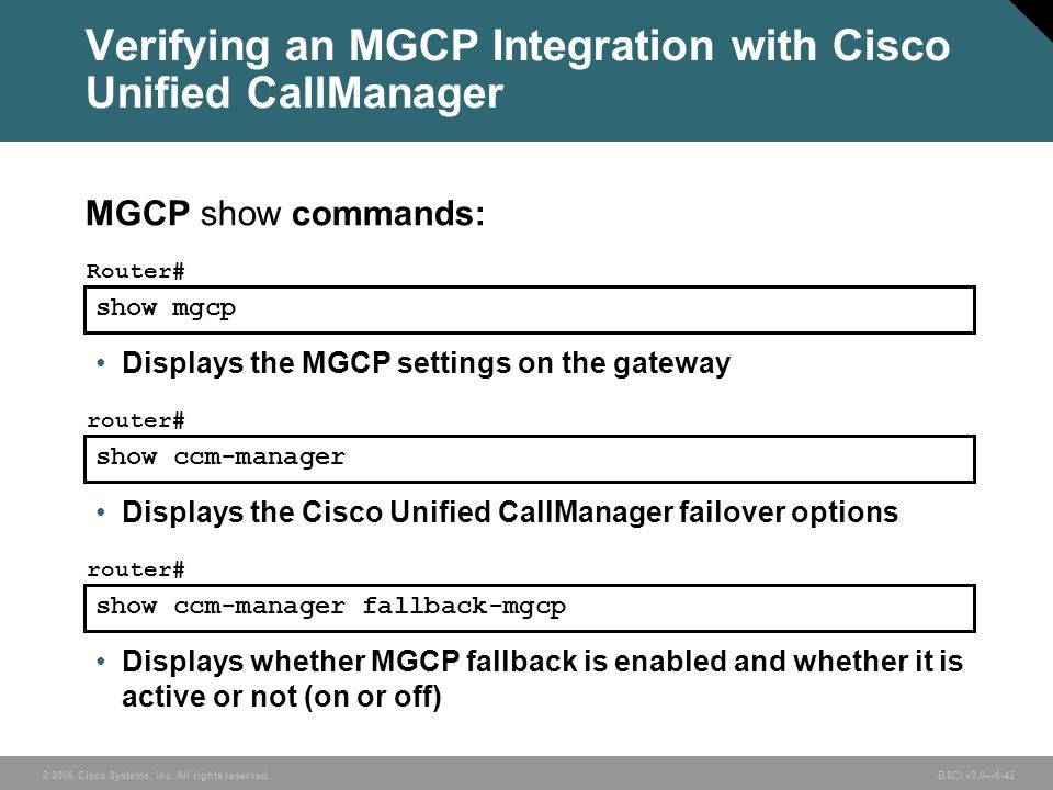 Verifying an MGCP Integration with Cisco Unified CallManager