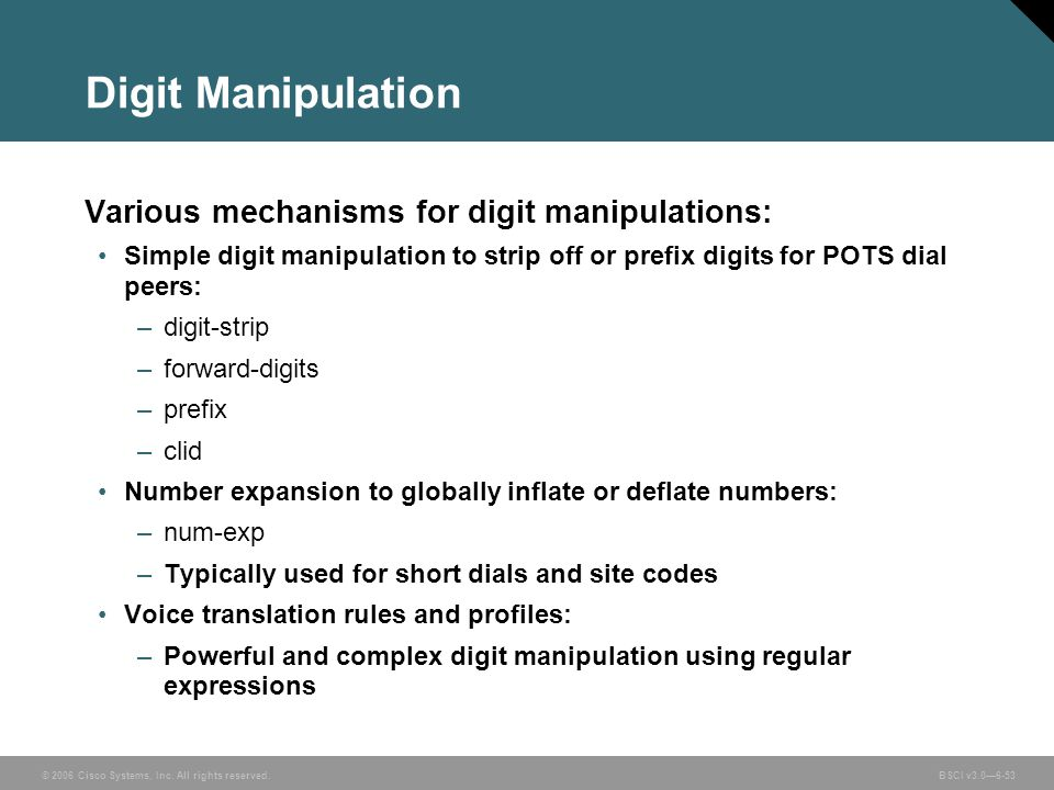 Digit Manipulation Various mechanisms for digit manipulations: