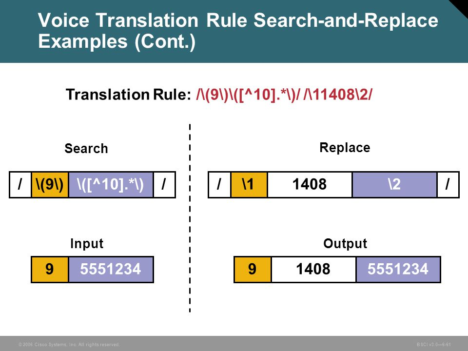 Voice Translation Rule Search-and-Replace Examples (Cont.)