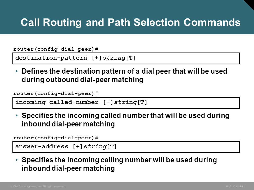 Call Routing and Path Selection Commands