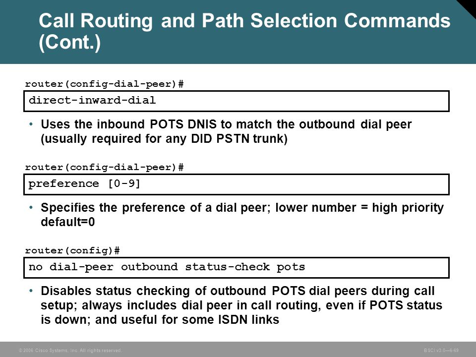 Call Routing and Path Selection Commands (Cont.)
