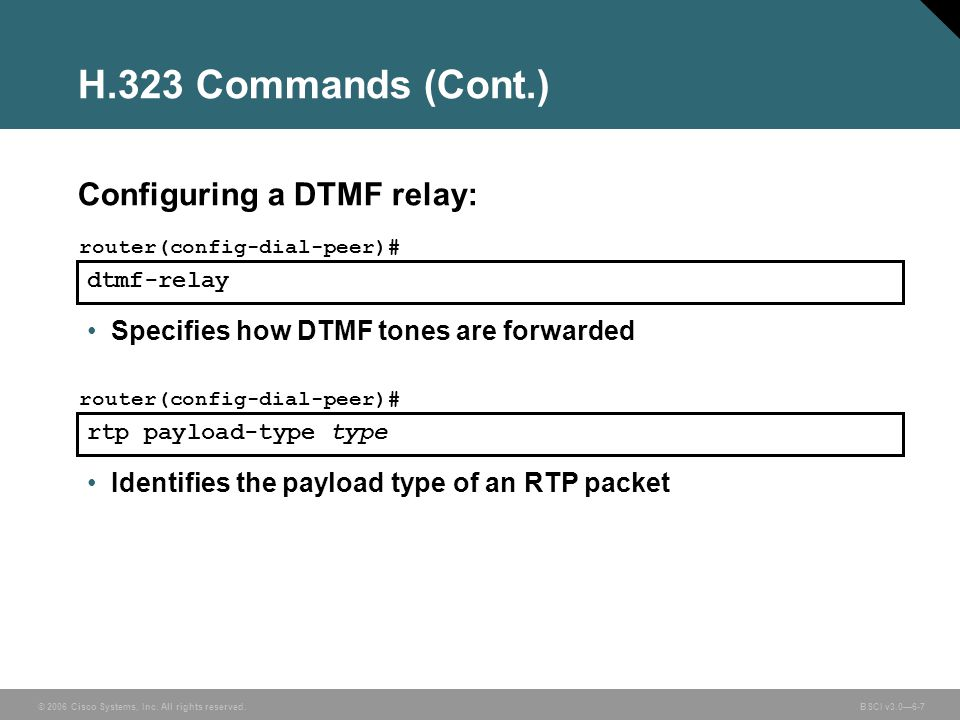 H.323 Commands (Cont.) Configuring a DTMF relay: