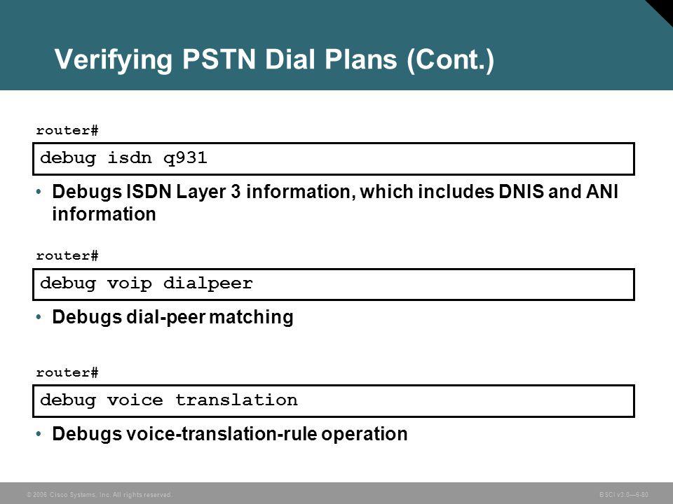 Verifying PSTN Dial Plans (Cont.)