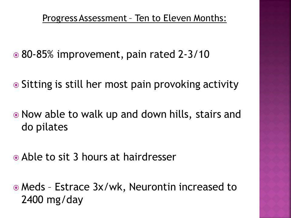 Progress Assessment – Ten to Eleven Months: