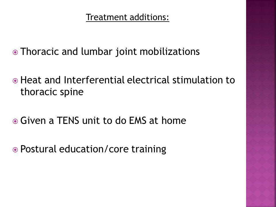 Thoracic and lumbar joint mobilizations