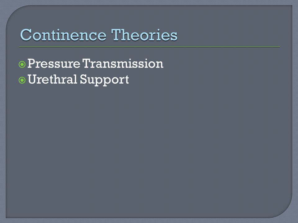 Continence Theories Pressure Transmission Urethral Support