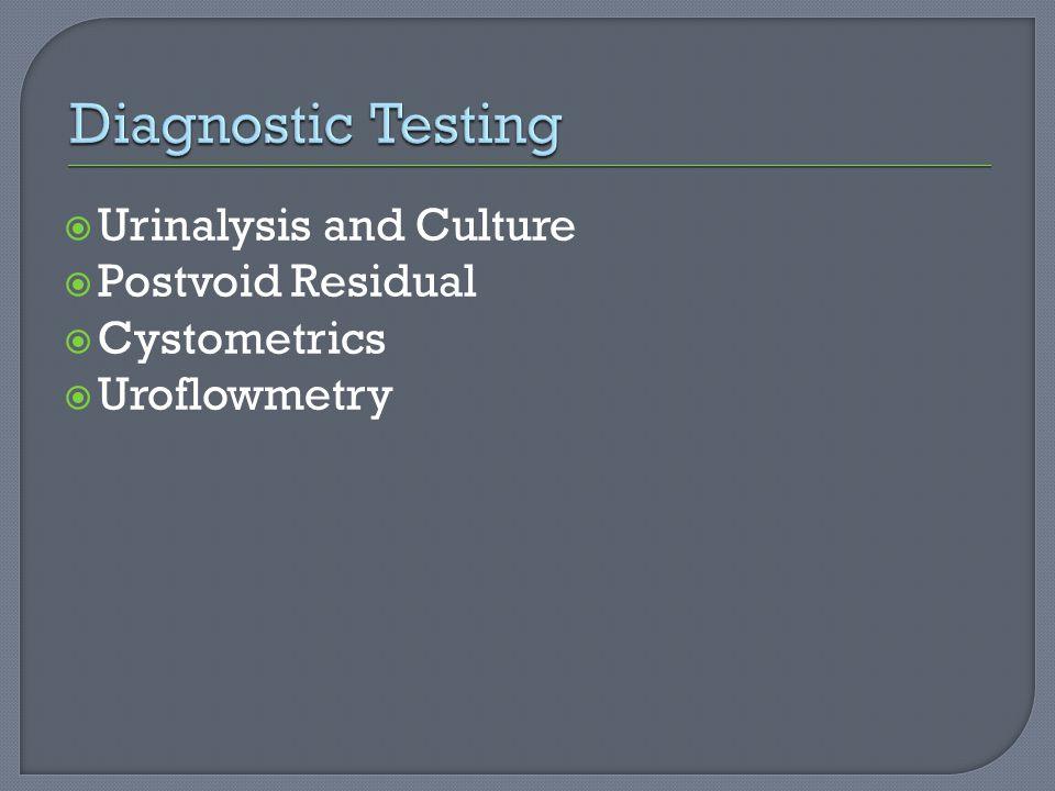 Diagnostic Testing Urinalysis and Culture Postvoid Residual