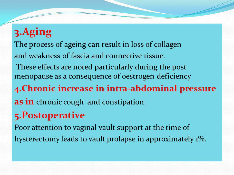 3.Aging 5.Postoperative 4.Chronic increase in intra-abdominal pressure