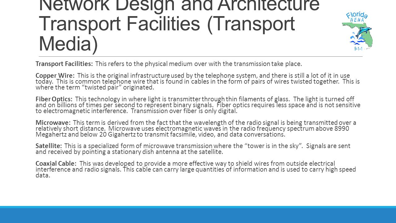 Network Design and Architecture Transport Facilities (Transport Media)