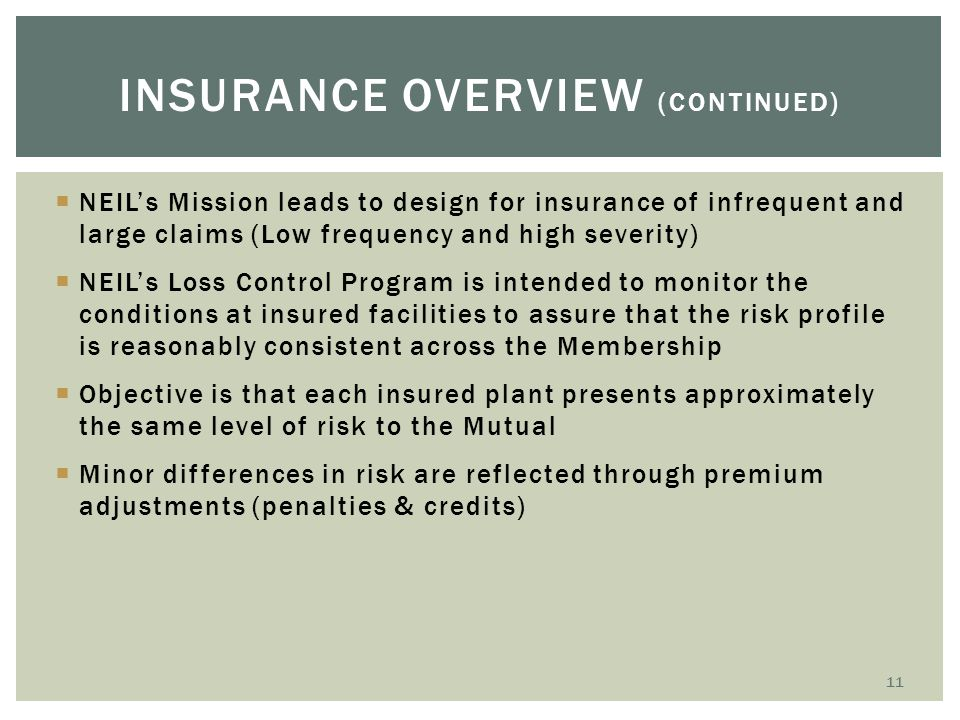 Insurance overview (continued)