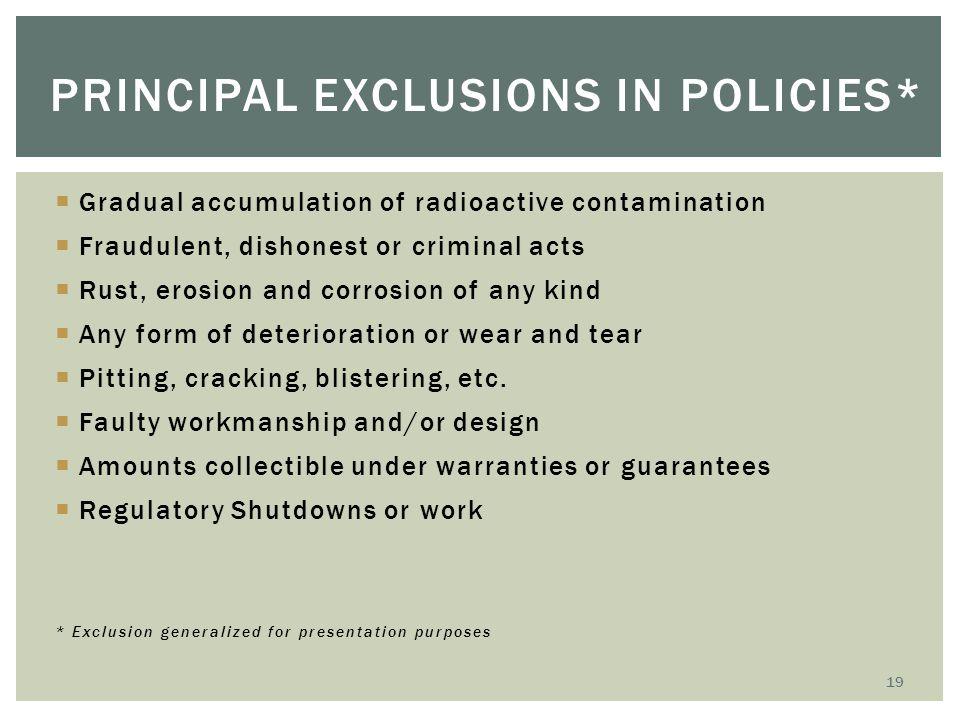 Principal Exclusions in Policies*