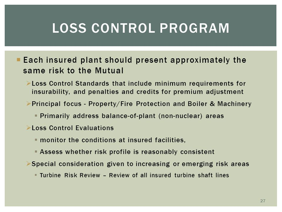 Loss Control Program Each insured plant should present approximately the same risk to the Mutual.