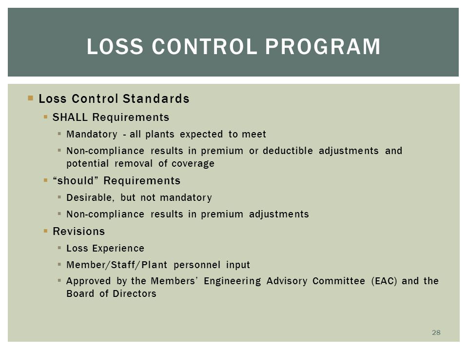 Loss Control Program Loss Control Standards SHALL Requirements