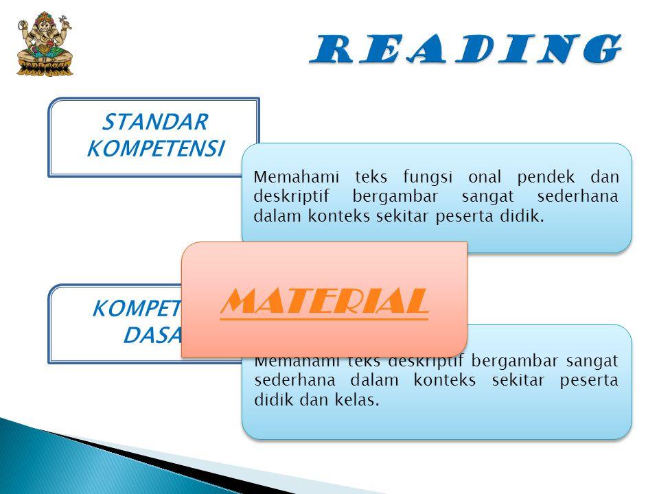 READING MATERIAL STANDAR KOMPETENSI KOMPETENSI DASAR