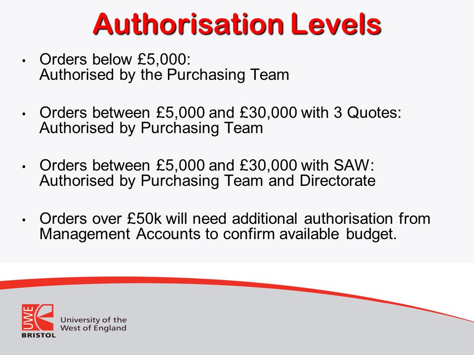 Authorisation Levels Orders below £5,000: Authorised by the Purchasing Team.