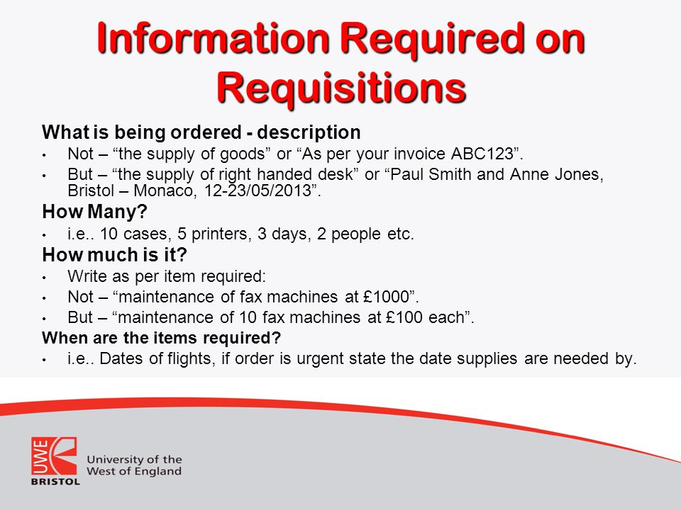 Information Required on Requisitions