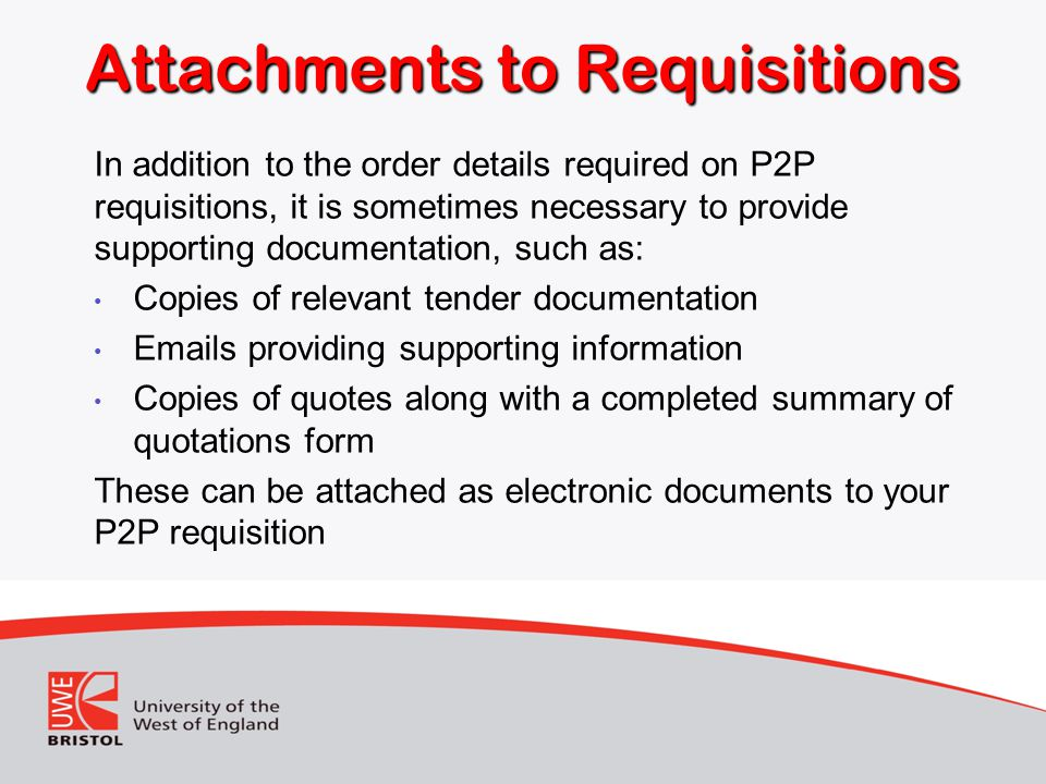 Attachments to Requisitions