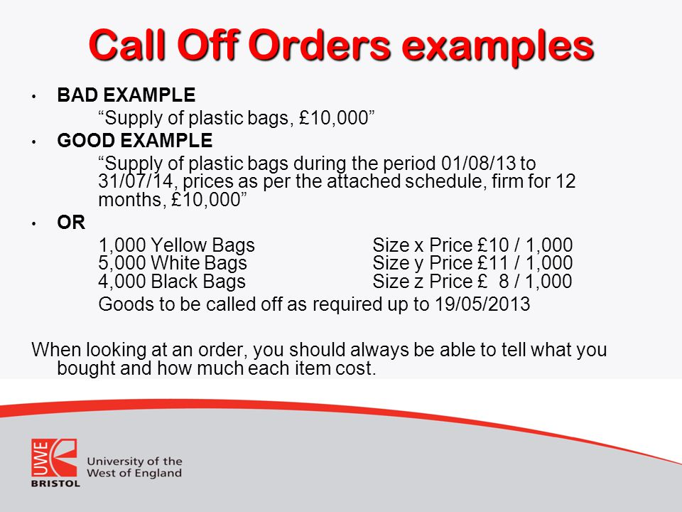Call Off Orders examples