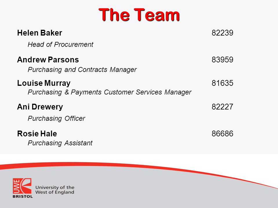 The Team Head of Procurement Purchasing Officer Helen Baker 82239