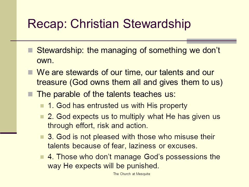 Recap: Christian Stewardship