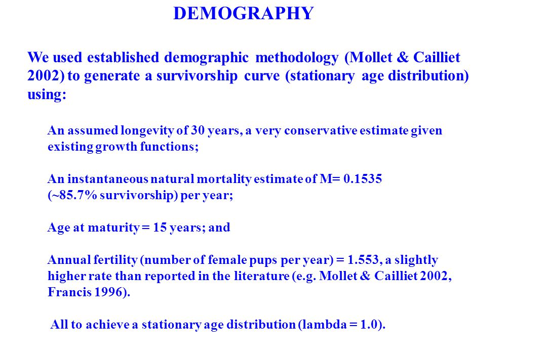 DEMOGRAPHY We used established demographic methodology (Mollet & Cailliet 2002) to generate a survivorship curve (stationary age distribution) using: