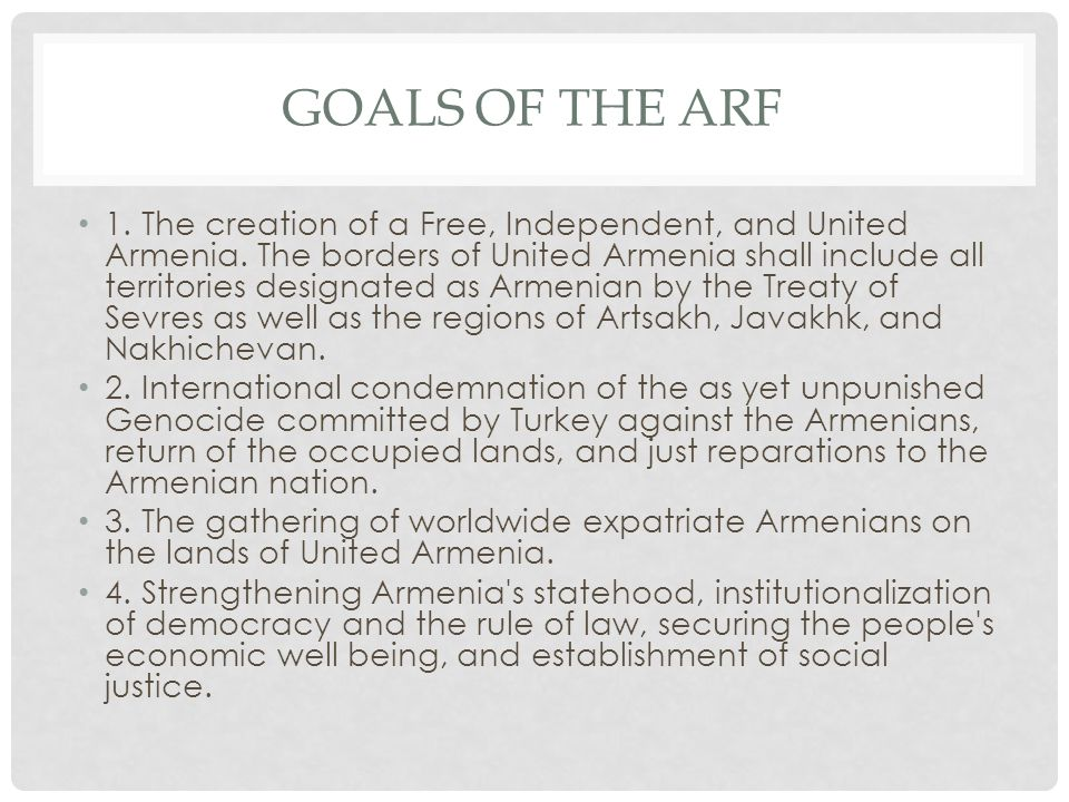 GOALS OF THE ARF