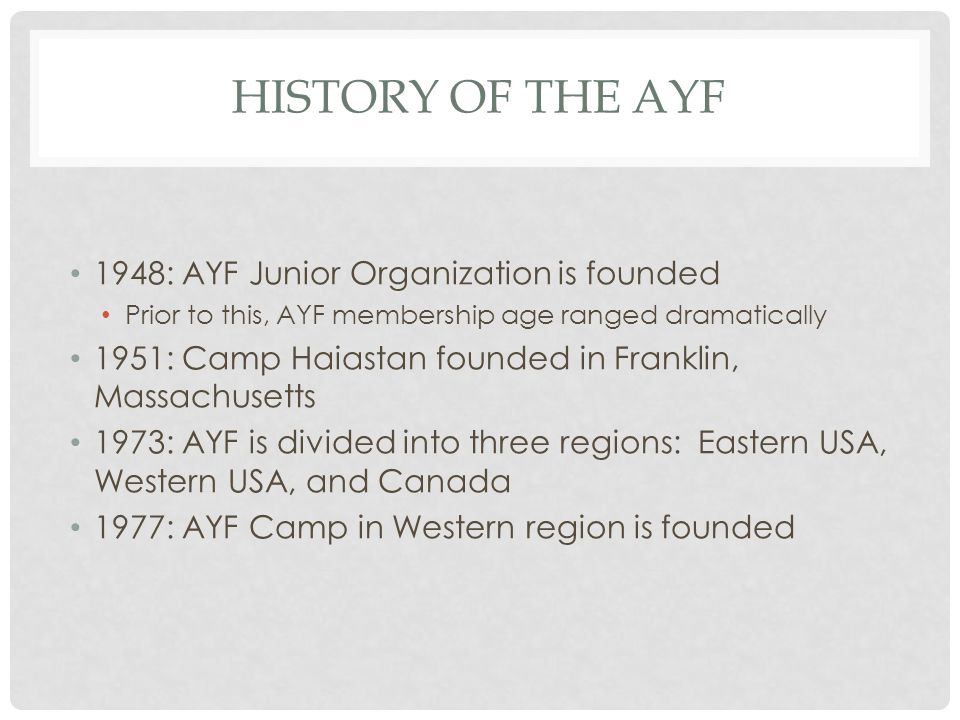 History of the ayf 1948: AYF Junior Organization is founded