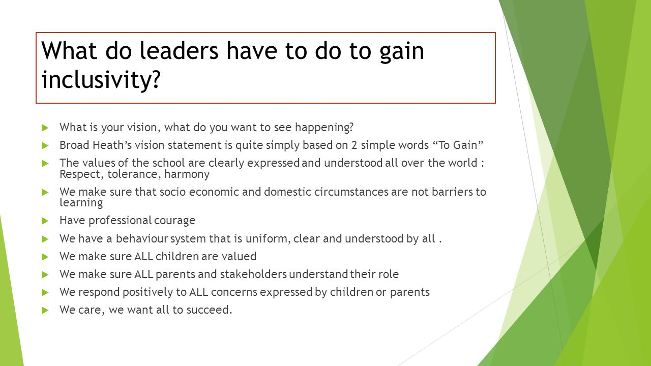 What do leaders have to do to gain inclusivity