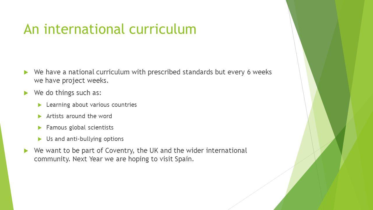 An international curriculum