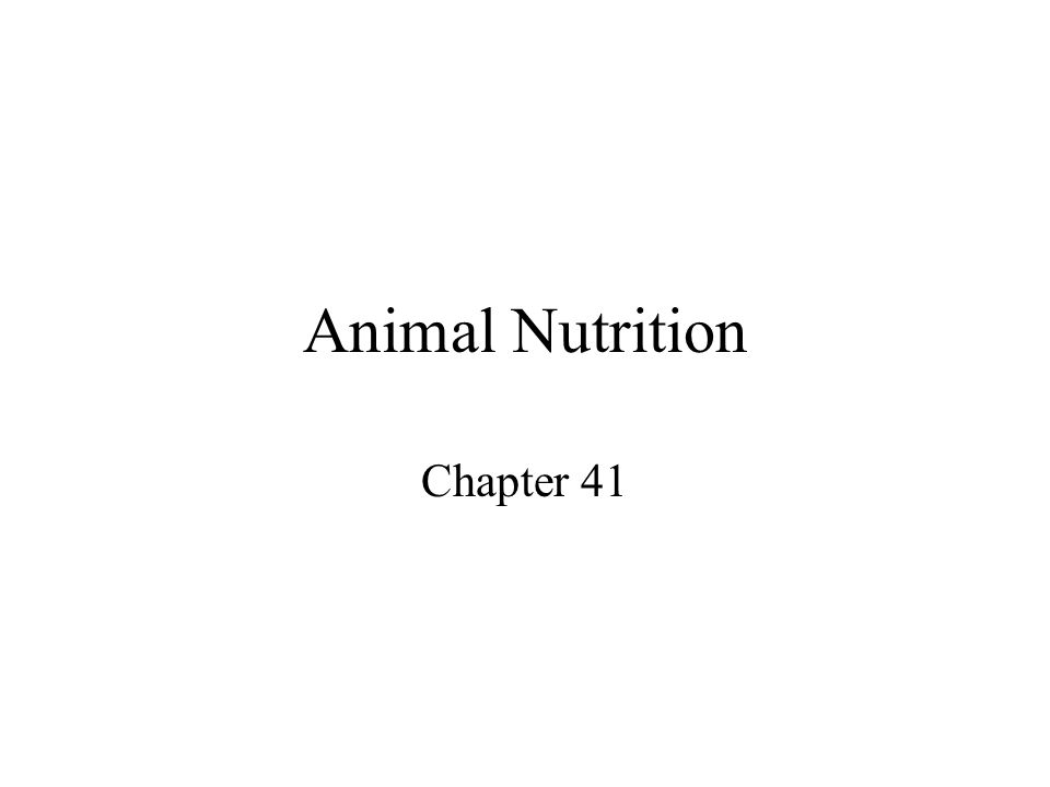 Animal Nutrition Chapter 41