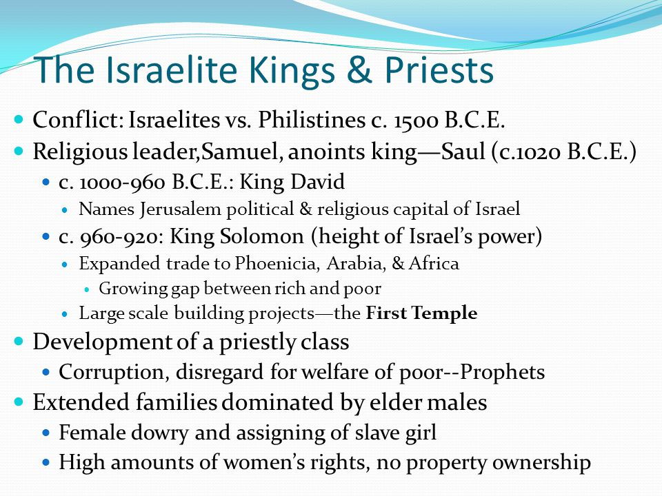 The Israelite Kings & Priests
