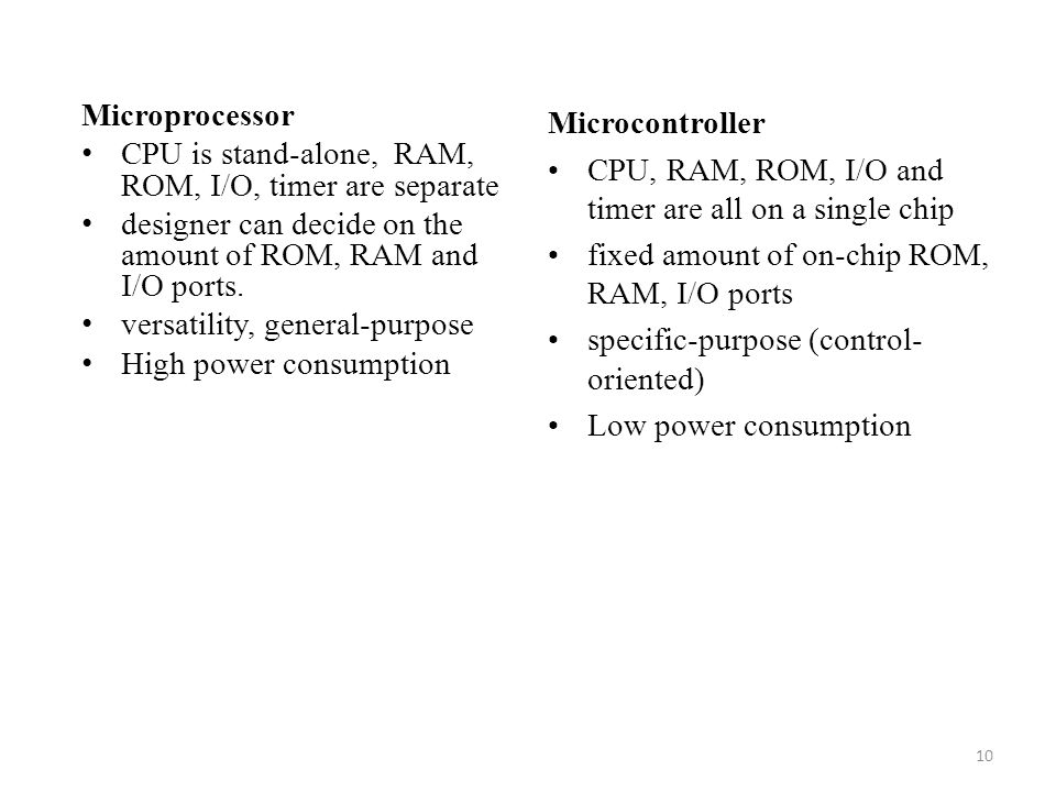 Microprocessor CPU is stand-alone, RAM, ROM, I/O, timer are separate. designer can decide on the amount of ROM, RAM and I/O ports.