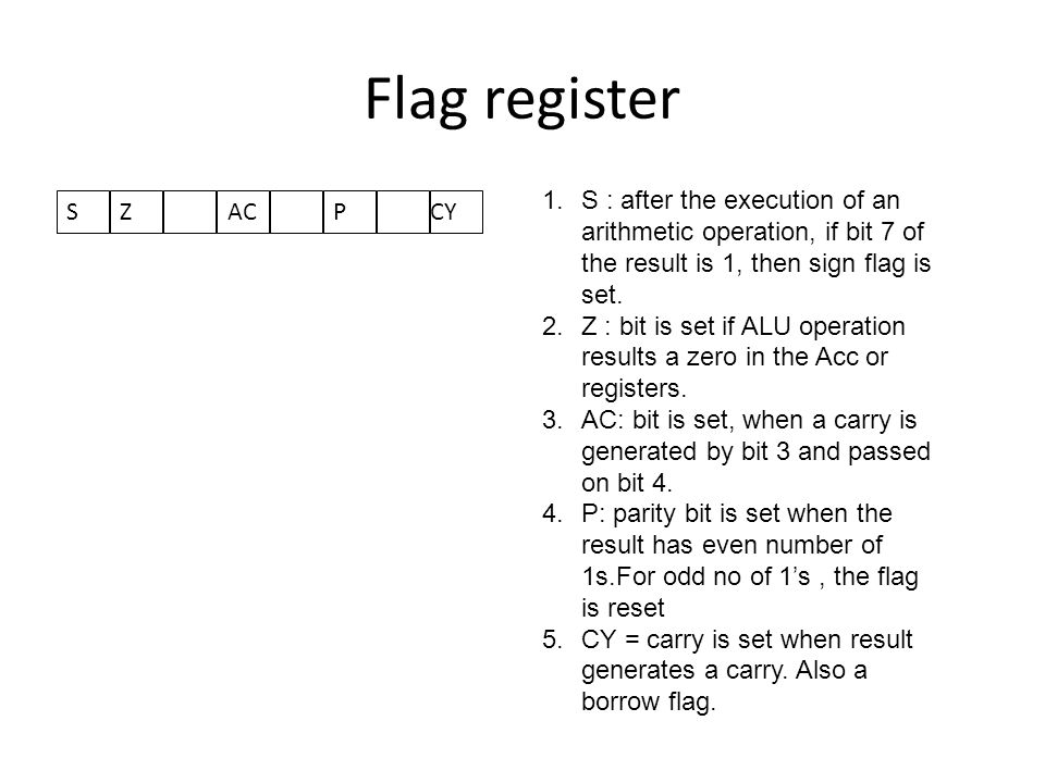 Flag register S : after the execution of an arithmetic operation, if bit 7 of the result is 1, then sign flag is set.