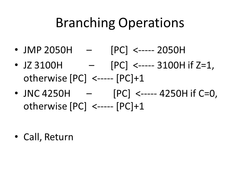 Branching Operations JMP 2050H – [PC] < H