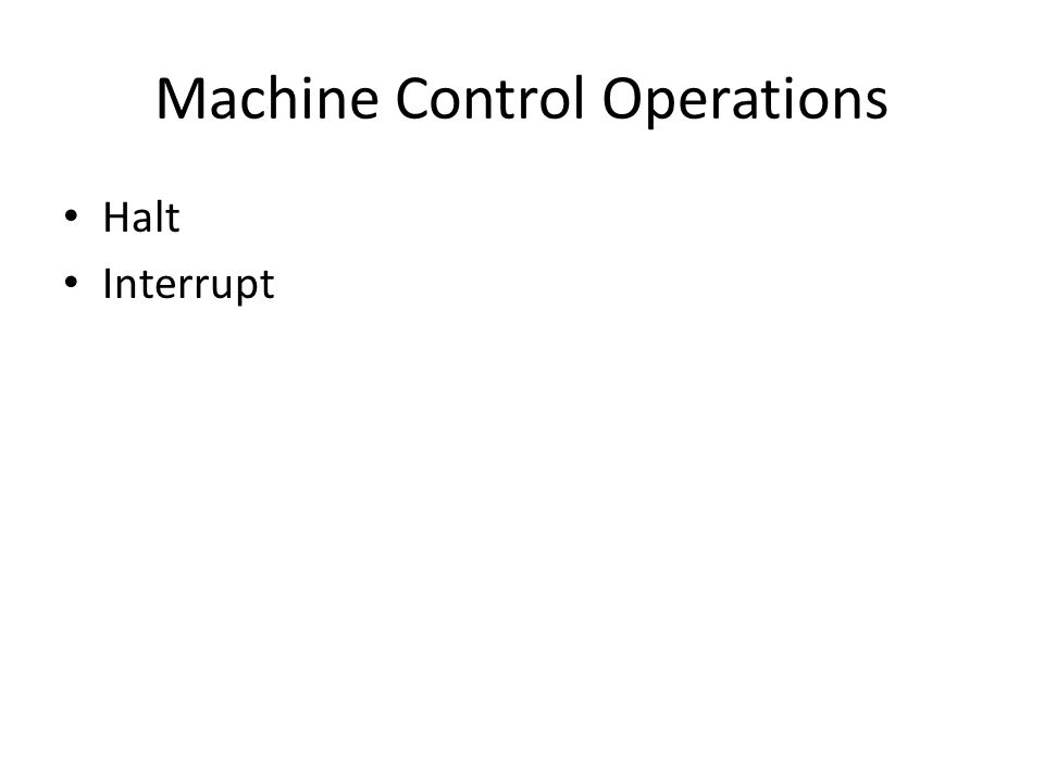 Machine Control Operations