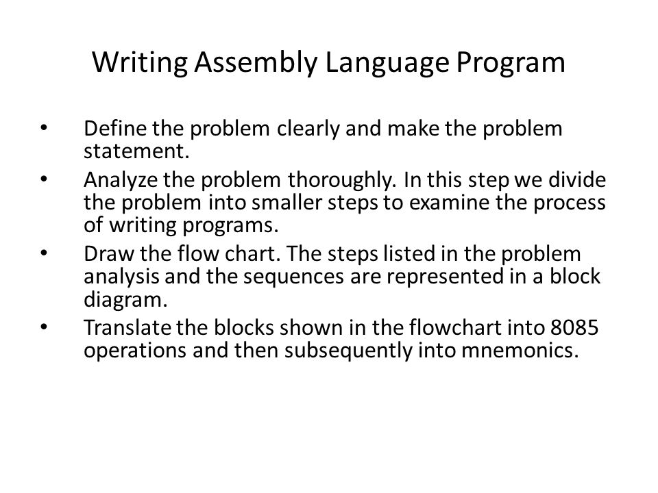 Writing Assembly Language Program