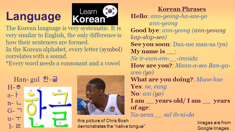 Language Han- gul 한-글 H-ㅎ a-ㅏ n- ㄴ G- ㄱ u- ㅜ l- ㄹ Korean Phrases