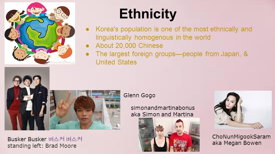 Ethnicity Korea s population is one of the most ethnically and linguistically homogenous in the world.