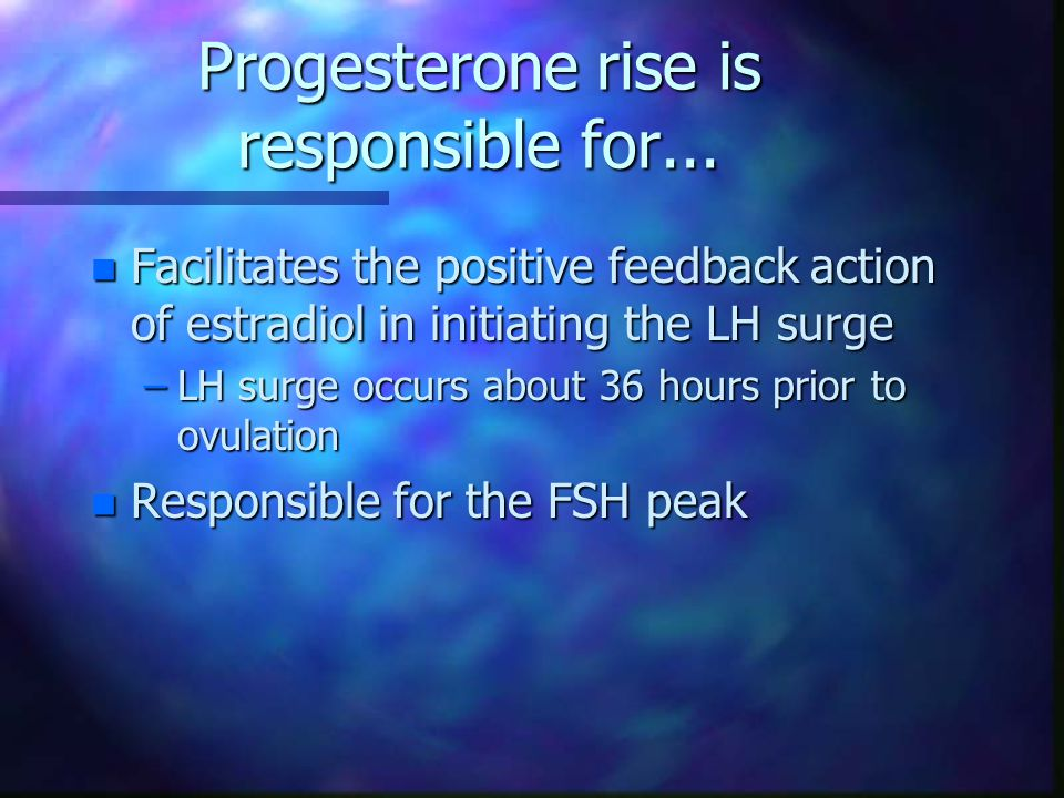 Progesterone rise is responsible for...