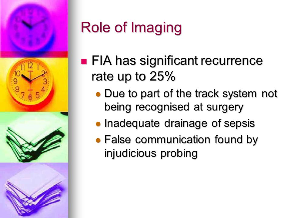 Role of Imaging FIA has significant recurrence rate up to 25%