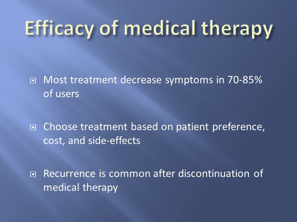 Efficacy of medical therapy