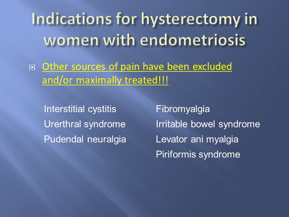 Indications for hysterectomy in women with endometriosis