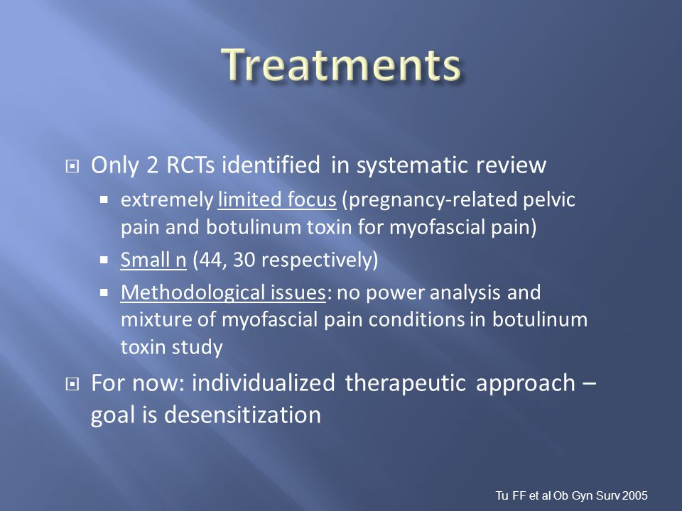 Treatments Only 2 RCTs identified in systematic review