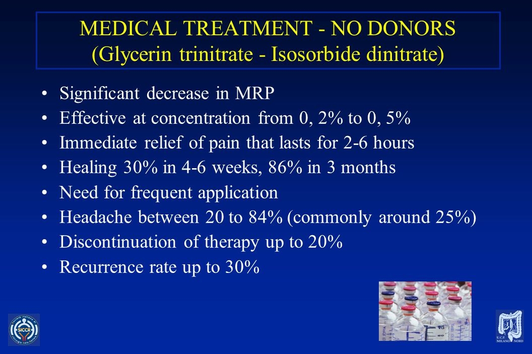MEDICAL TREATMENT - NO DONORS (Glycerin trinitrate - Isosorbide dinitrate)